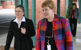by: garth guibord, Incoming Superintendent Shelley Redinger, left, tours Firwood Elementary School with Principal Debbie Johnson Thursday afternoon, March 15.