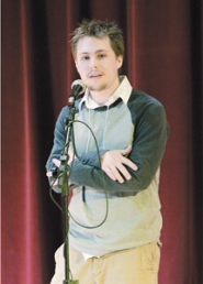 "by: Contributed photo, Ian Jones, a senior at the Center for Advanced Learning, recites Robert Burns' ""To a Mouse"" on his way to becoming state champion in Oregon's 2007 Poetry Out Loud competition at the Salem Public Library on Saturday, March 10."