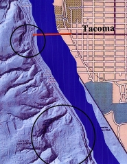 by: Courtesy of Multnomah County, This composite illustration, showing a map of Sellwood at right and a radar examination of the terrain at the west end of the Sellwood Bridge at the left, reveals two ancient landslides which both narrow the Willamette River, and both of which are still active: One at the west end of the Sellwood Bridge, and the other between Lewis and Clark College and Waverley Golf Club.
