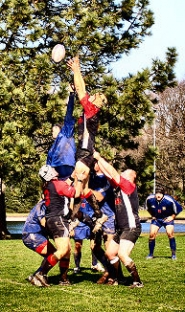 "by: David F. Ashton, Performing what looks like a cross between a ballet jump and an acrobatic cheerleader stunt, rugby players hoist a team member high into the air to catch the ball during a ""line out""."