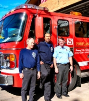 by: Elizabeth Ussher Groff, The staff at Fire Station 25 at SE 52nd and Mall Street welcomes contact with Neighborhood Emergency Team member, and has sent staff to NET meetings in February and March. From left: firefighters Everett Branderhorst, Gil Perry, and Greg Holsinger.