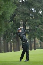 by: Vern Uyetake, Kevin Hoffman follows through after a shot during Monday's Three Rivers League tournament at Waverley Country Club. Hoffman is the only senior on this year's team which will look to steadily improve as the season progresses.