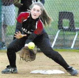 by: JAIME VALDEZ, GLOVE WORK — Tualatin third baseman Kirstie Lerum makes the play.