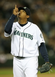 "by: OTTO GREULE JR./GETTY IMAGES, Felix Hernandez turned in a ""Sandy Koufax-like performance,"" on opening day, says pitching coach John McLaren."
