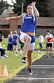 by: MILES VANCE, TAKEOFF – Aloha High senior Hayley Koch hopes to lift her team to greater success during the 2007 season. Koch is a long jumper and sprinter for the Warrior girls team.