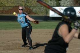 by: Vern Uyetake, Lakeridge pitcher Natalie Rose delivers a pitch during last Thursday's TRL game against West Linn. Rose turned in an excellent performance on the mound but Lakeridge still lost the contest 1-0.