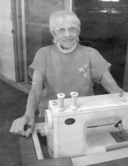 by: Emily Gustafson, Since 1959, it has been Ida Case's attention to detail that has provided stylish fashion to fair princesses. In this 2003 photo, Case is shown with her trusty sewing machine.