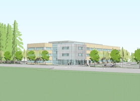by: Image courtesy of Providence Health Systems, PROPOSED CENTER — This rendering shows the west entrance of the proposed Providence Bridgeport Health Center.