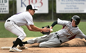 by: MILES VANCE, SAFE – Southridge's Mitch Mathews steals second base as Sunset shortstop Kevin Taylor takes a throw from Kerry Degman in the fifth inning of his team's 8-2 Metro League win on Friday morning at West Linn High School.