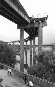 by: JIM CLARK, This on-ramp stub originally was built as part of a system that would have connected Harbor Drive (now Gov. Tom McCall Waterfront Park) to Interstate 84 via the Steel Bridge. That project was scrapped but the stub, one of many on city highways, remains.