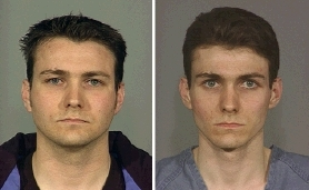 by: Courtesy of Multnomah County Sheriff's Office, Wayne Michael Trent, as shown in mug shots from his jail bookings on April 22 (left) and in 2001 (right) under the name Wayne Robert Skeen.