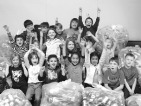 by: contributed photo, East Orient Elementary students with their returnable cans, from left, third row, Sam Pemberton, Steven Lane, Saige Anderson, Andrew McKay and Jaden Stoker, second row, Benjamin Panaite, Courtney Andersen, Madison Trickel, Caleigh Hornback, Kyla Thomas and Cydney BumGardner, first row, Julie Liggett, Kylee McIntyre, Eligio Aguilera Rodriguez, Youstina Hanna, Yuni Cervantes, James Sestric and Joel Farnham.