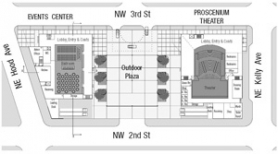 by: Contributed graphic, The plan for the Gresham Center for the Arts now includes a pair of buildings with a plaza between. The building on the left and the plaza would be built first, while the structure on the right is planned for down the road.