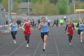 by: Vern Uyetake, Mandy White looks to break the tape in the 100 meters during last week's meet against Clackamas. White won the event that afternoon and still has one of the fastest times in the state in the 100 meters. Lakeridge lost the meet to the Cavaliers but will look for revenge at districts.