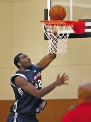 by: L.e. Baskow, New Blazer Greg Oden shows what he can do earlier this month at the team's training facility. Fans worldwide can't wait to see more.