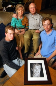 by: Vern Uyetake, Members of the Schulte family remember Lake Oswego High School graduate Aaron Schulte, who died in April. They are, from left, brother Jeff, mom Kathy, dad Steve and brother Matt, shown at their home in Lake Oswego.