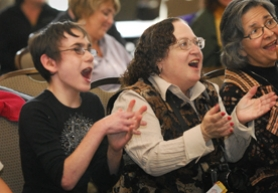 by: Vern Uyetake, Rebecca Recht, left, and her mother Laurie Recht sang along and clapped during a concert by Peter Yarrow at Park Academy Monday, Oct. 8. The Rechts were found dead in their Vancover, Wash., home three days later.