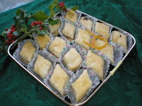 by: Barb Randall, Alice Richmond's Armenian Baklava took first price in the Review and Tidings' annual Holiday Best Kept Secret Recipe Contest.