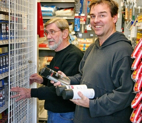 "by: David F. Ashton, Westmoreland True Value Hardware's Ivan Stahlecker assists customer Chris Custer, who said, ""I think it is a good idea. Maybe this will help slow down taggers."""