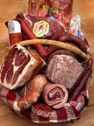 by: JIM CLARK, A basket of cured meats from Pastaworks could make a carnivore happy on Christmas morning.