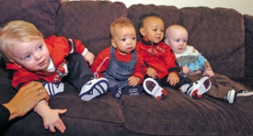 by: ©2007 GREG WAHL-STEPHENS, The latest generation in the Blazer family includes (from left) Nicholas Blake, Elijah Williams, Brandon Roy Jr. and Cael LaFrentz – and another baby's due in January. Assistant coach Monty Williams (below) already has gym plans for Elijah.
