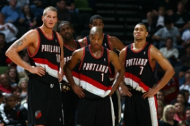 by: GARRETT ELLWOOD, The current incarnation of the Blazers, including (front, from left) Joel Przybilla, Jarrett Jack and Brandon Roy and (back, from left) Martell Webster and LaMarcus Aldridge, may be rekindling fans' love, but the front office has done little to capitalize on Blazermania of yore.