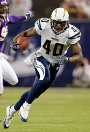 by: COURTESY OF SAN DIEGO CHARGERS, Legedu Naanee, wide receiver and slot for San Diego, looks forward to meeting Oakland on Sunday, and the playoffs to come.