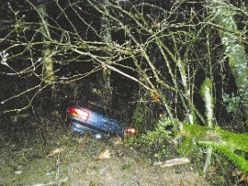 by: Marcus Hathcock, This Subaru Impreza crashed into a thicket of trees after losing control after a high-speed chase that began late Thursday, Dec. 20. The suspect fled on foot after crashing.