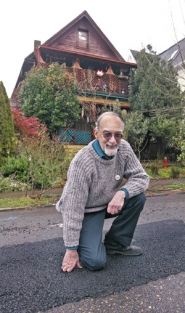by: JIM CLARK, Though he once feared losing his house or losing his savings to replace a failing shared sewer connector, Graham Conroy (atop the recent work in front of his Northwest Portland home) benefited from a new city plan to deal with party lines.