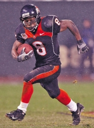 by: Jed Jacobsohn, Beaver flanker James Rodgers takes a run against Maryland Friday in the Emerald Bowl. Next season OSU could have the contributions of his brother, incoming freshman Jacquizz Rodgers, at tailback.