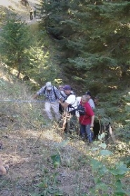 by: contributed photo, Rescuers pulled 78-year-old Doris Anderson from a steep box canyon in the Wallowa Mountains after she spent 13 days lost in the wilderness in September, 2007.