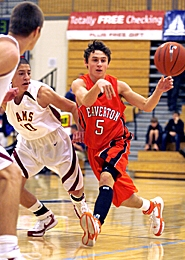 by: JONATHAN HOUSE, PASSING FANCY — Beaverton junior point guard Jake Krichevsky dishes off during his team's win over Central Catholic at last week's Les Schwab Invitational tournament at Liberty High School.