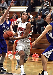 by: JAIME VALDEZ, TO THE HOOP — Beaverton's Ariel Shaw drives to the basket in the team's win.