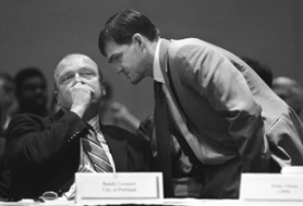 by: L.E. BASKOW, Many heard Erik Sten (right, conferring with Commissioner Randy Leonard at a 2006 education summit) call himself a reluctant candidate when he ran for his fourth City Council term two years ago.
