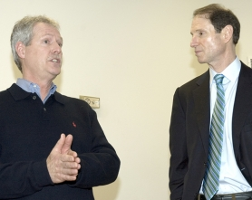 by: Rick Swart, Tony Hyde (left), chairman of the Columbia County Board of Commissioners, talks about efforts to reconstruct Vernonia's flood-damaged schools during a town hall meeting conducted by U.S. Senator Ron Wyden (right) Friday.