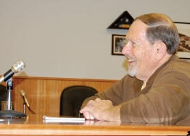 by: Darryl Swan, Former South County Spotlight Publisher Art Heerwagen interviews with the Scappoose City Council before being appointed to replace Lisa Smith, who recently moved to Warren.