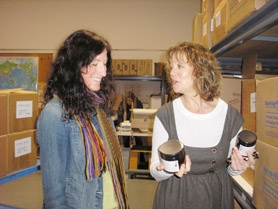 by: Ellen Spitaleri, Earth Mama Angel Baby operations manager Lisa MacKenzie, left, and founder Melinda Olson look at hand-processed teas in the company's Clackamas warehouse.