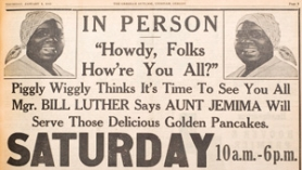 by: The Outlook files, Aunt Jemima visits Piggly Wiggly in 1948.