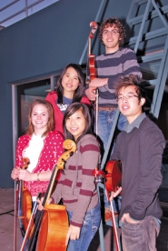 by: ©2008 RAYMOND LEE, Members of the Portland Youth Philharmonic, including (clockwise from top) Griffin Gaffney, Brian Ki, Lauren Shin, Kate Davis and Natalie Yu, perform Sunday.