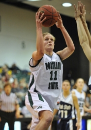 by: ©2008 TROY WAYRYNEN, Viking star Kelsey Kahle has helped Portland State to a 14-3 record. At 4-0 in the Big Sky, it looks like the Vikings will face Montana for the conference title.