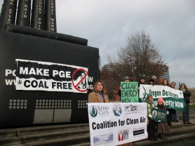 by: Toby van Fleet, Allison LaPlante (left) announces a lawsuit against Portland General Electric for pollution from its coal-fired power plant.