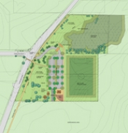 by: Group Mackenzie,  Hazelia Field at Luscher Farm will include two dog parks (red arrows) and a multi-use field (blue arrow).