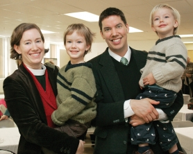by: SHANDA TICE, Reverend Jennifer Creswell, left, with her family, including son Liam Creswell, 4, husband Ian Doescher, and son Graham Doescher, 2.