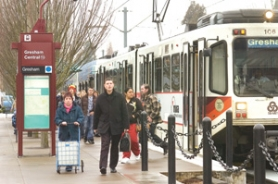 by: Carole Archer, TriMet passengers arrive via MAX train at Gresham Central Thursday afternoon, Jan. 17, at Southeast Eighth Street and Kelly Avenue, right in the middle of a proposed new drug-free exclusion zone.