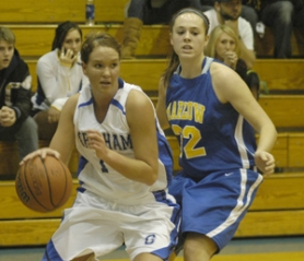 by: David Ball, Gresham's Amiee Frutchey drives to the basket during the Gophers' 48-42 win Tuesday night against Barlow.