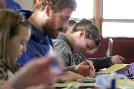 by: Jonathan House, Volunteers at the Beaverton Community Center made special greeting cards for homebound seniors Monday as part of Martin Luther King Jr. Day 