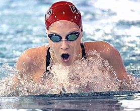 by: MILES VANCE, OUT IN FRONT — Westview's Michelle Needham races to victory in the 200-yard individual medley last week.