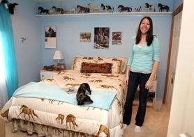by: Jaime Valdez, The real result of the remodeling project was a much larger bedroom for 15-year old Alyssa Chertude, pictured, and another room for her brother Payton Chartude.