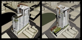 by: COURTESY OF SIENNA ARCHITECTURE CO., Neighborhood opposition helped turn the original plan for the Allegro (left) into a sleeker design (right).