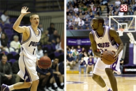 by: ©2008 WILL CREW, Nik Raivio (left) is following in the footsteps of dad Rick, a star from 1976-80, in playing for the University of Portland. Sherrard Watson (right), a slashing 6-6 forward, plays a different style then Sidney, his father, who was the banger on Portland Pilot teams of the late '70s and early '80s.